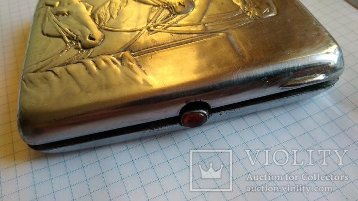 Портсигар Тройка с янтарной кнопкой и клеймом, фото №8