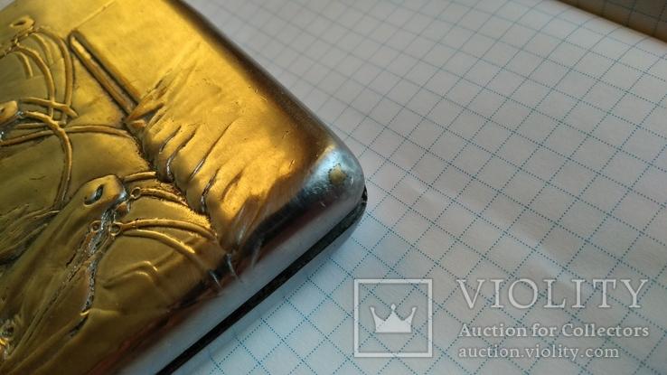 Портсигар Тройка с янтарной кнопкой и клеймом, фото №10