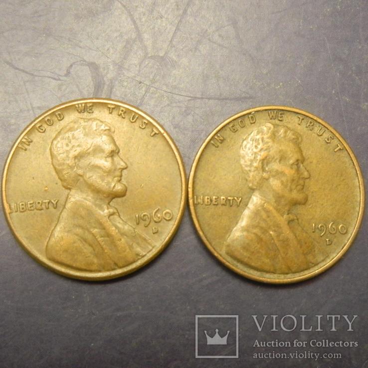 1 цент США 1960 D (два різновиди), велика та мала дати, фото №2