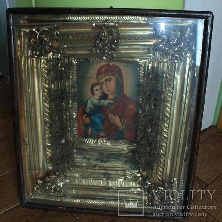 Большая икона под стеклом ( 53 на 47 см), фото №3