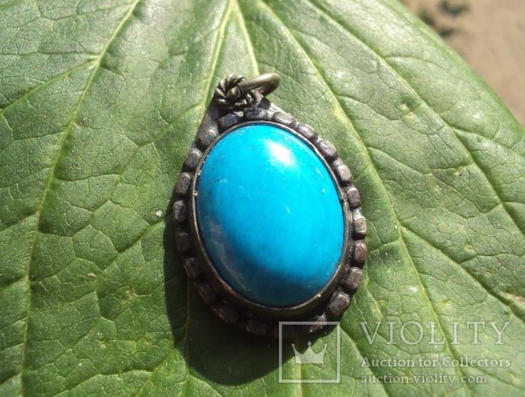 Кулон с голубым камнем., фото №2