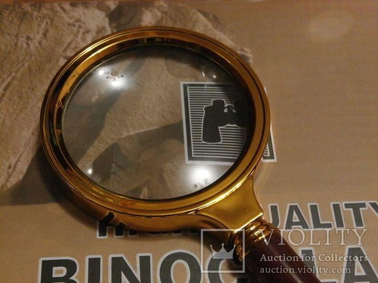 Лупа просмотровая металлический корпус увеличение 6 крат,диаметр 70 мм, фото №2