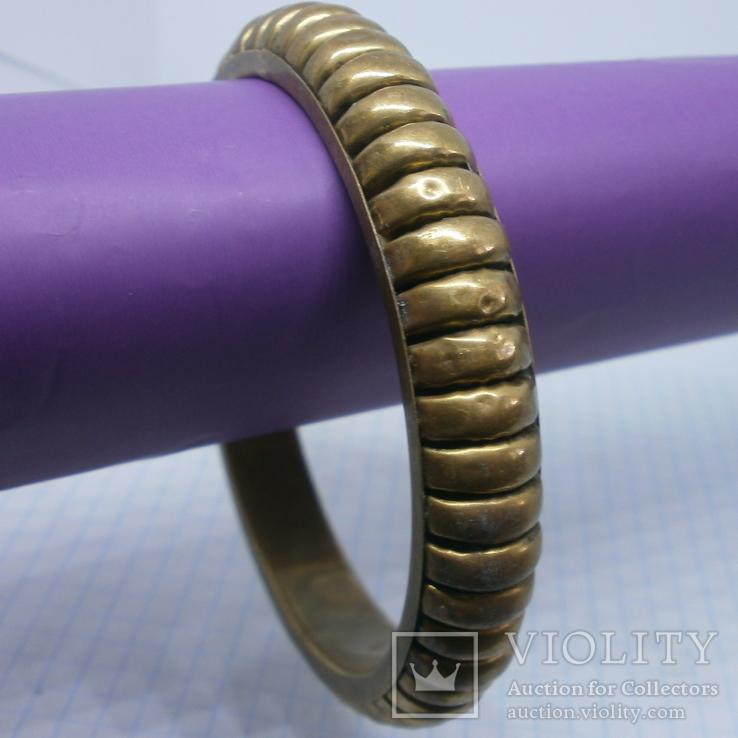 Объемный полый браслет. Латунь, фото №3