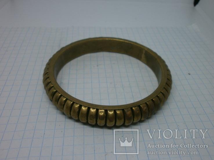 Объемный полый браслет. Латунь, фото №4