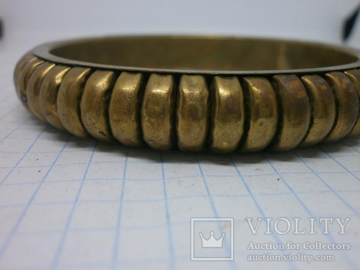 Объемный полый браслет. Латунь, фото №5