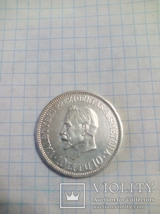 Монета 10 Litu 1918-1938.