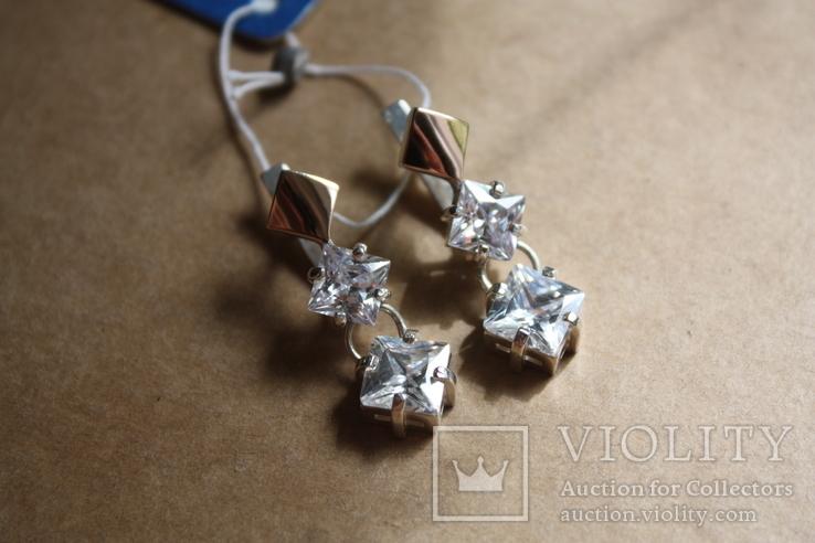 Серебряные серьги с золотом и фианитами, фото №2