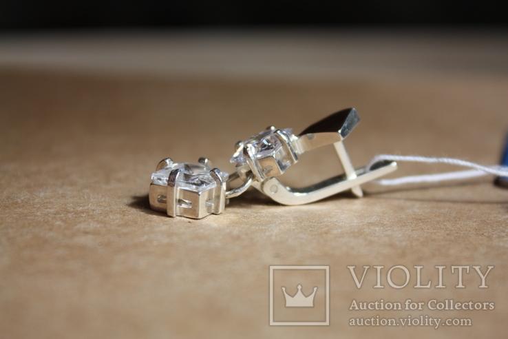 Серебряные серьги с золотом и фианитами, фото №4