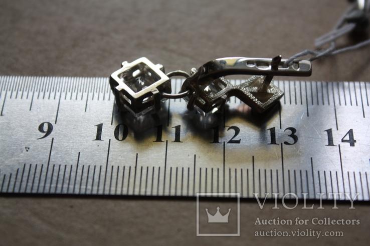 Серебряные серьги с золотом и фианитами, фото №6