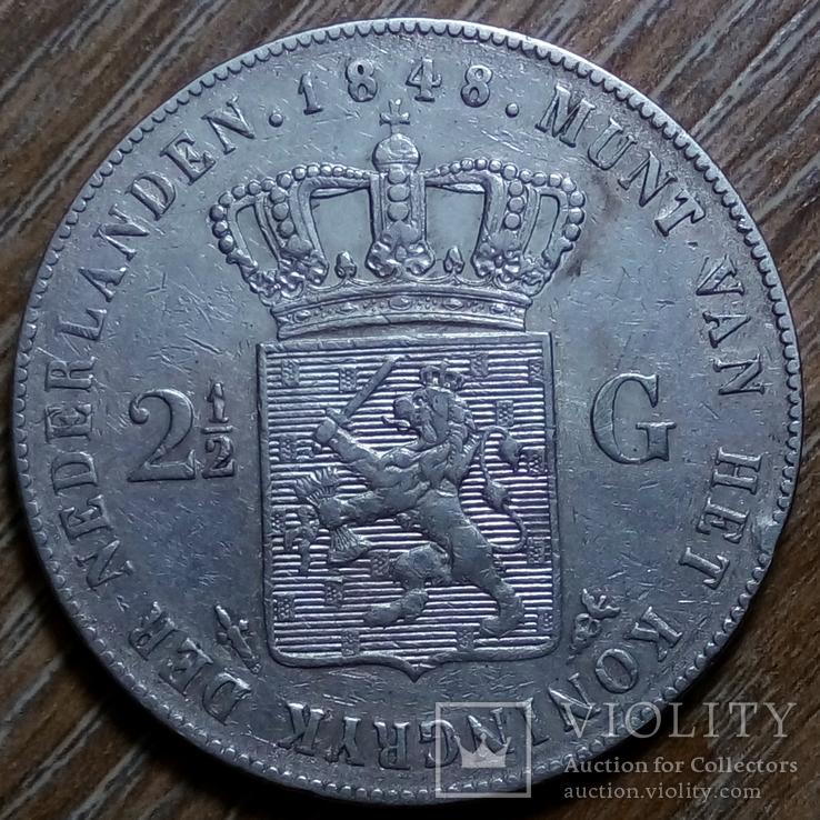 Нидерланды 2 1/2 гульдена 1848 г., фото №2