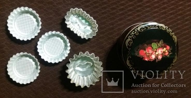 Металлическая банка *Розы*.Формы для выпечки кексов алюминиевые., фото №3