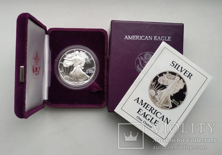 США 1 долар 1988 р. Срібло. PROOF, BOX. Крокуюча Свобода., фото №2