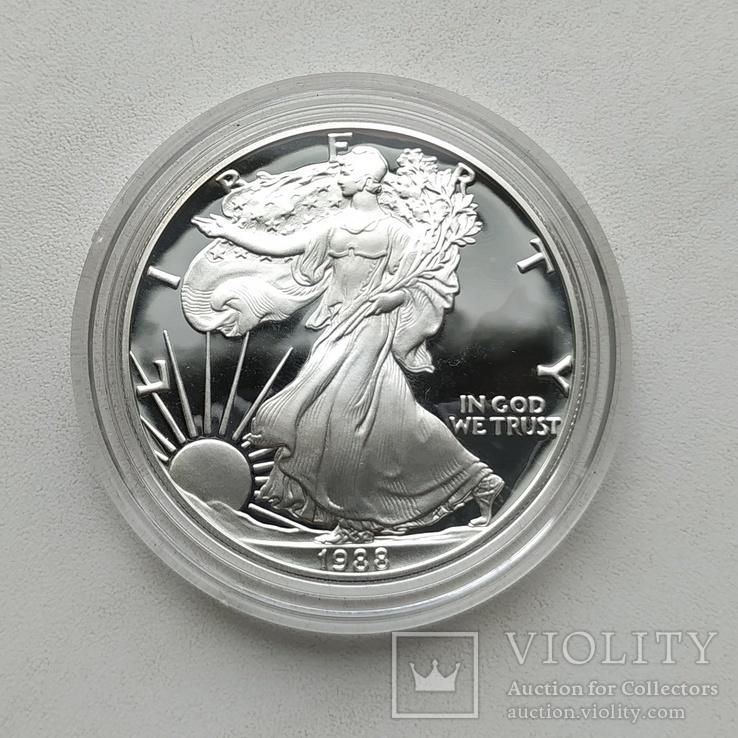 США 1 долар 1988 р. Срібло. PROOF, BOX. Крокуюча Свобода., фото №3