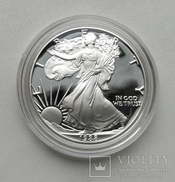 США 1 долар 1988 р. Срібло. PROOF, BOX. Крокуюча Свобода., фото №5