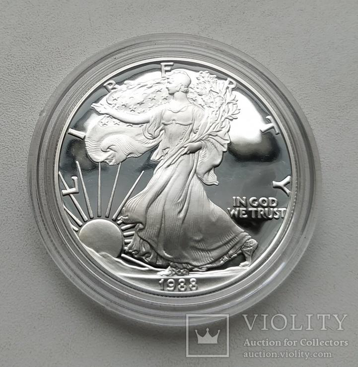 США 1 долар 1988 р. Срібло. PROOF, BOX. Крокуюча Свобода., фото №6