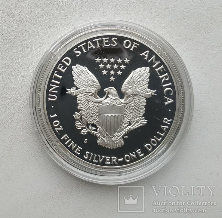 США 1 долар 1988 р. Срібло. PROOF, BOX. Крокуюча Свобода., фото №10