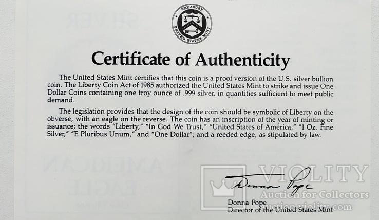 США 1 долар 1988 р. Срібло. PROOF, BOX. Крокуюча Свобода., фото №12
