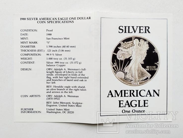 США 1 долар 1988 р. Срібло. PROOF, BOX. Крокуюча Свобода., фото №13