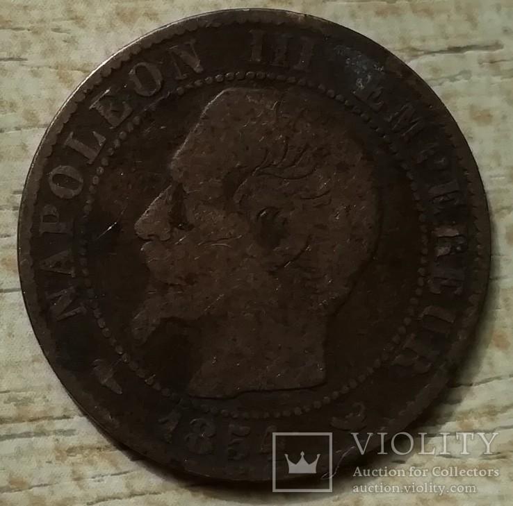 """Франция 5 сантимов, 1854 г. Отметка монетного двора: """"W"""" - Лилль, фото №2"""