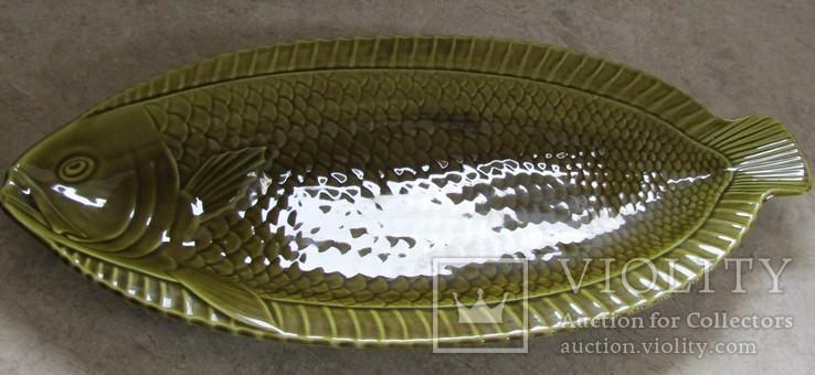 Огромное блюдо для подачи рыбы Майолика Sarreguemines French faïence  Majolica Франция, фото №3