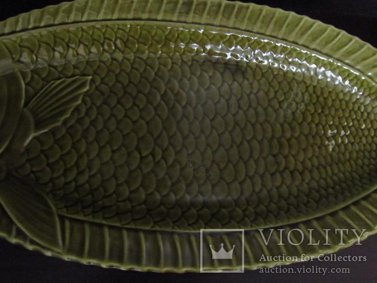 Огромное блюдо для подачи рыбы Майолика Sarreguemines French faïence  Majolica Франция, фото №4