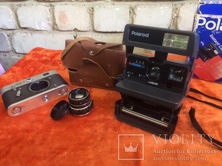 "Фотоаппарат ""полароид"", объектив индустар - 61 Л/Д, Тушка FED 3, кожаный чехол для FED 3"