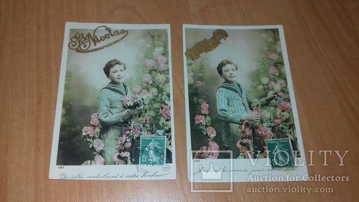 Серия открыток Франция. Начало ХХ в. Мальчик. Дети. Цветы