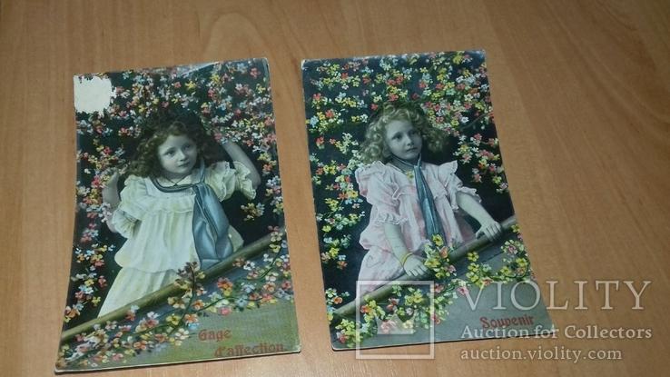 Серия открыток Германия Бельгия. 1908-09 гг. Девочка. Дети. Цветы