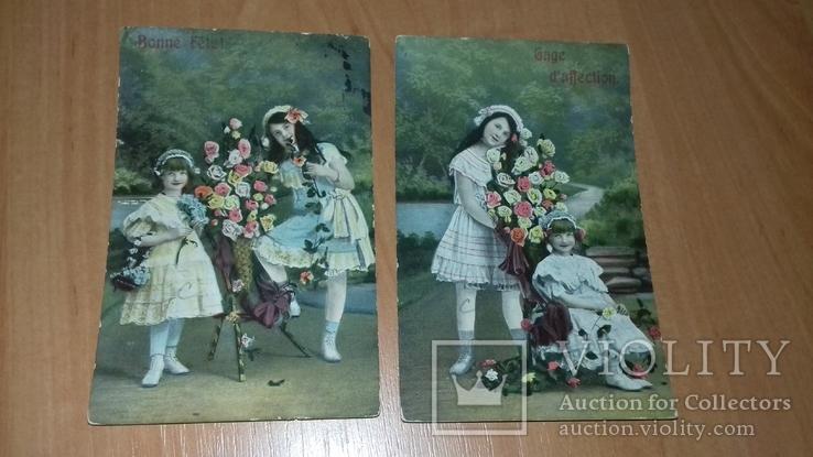 Серия открыток Бельгия 2шт. 1910-12 гг. Девочки в чепцах. Дети. Цветы, фото №2