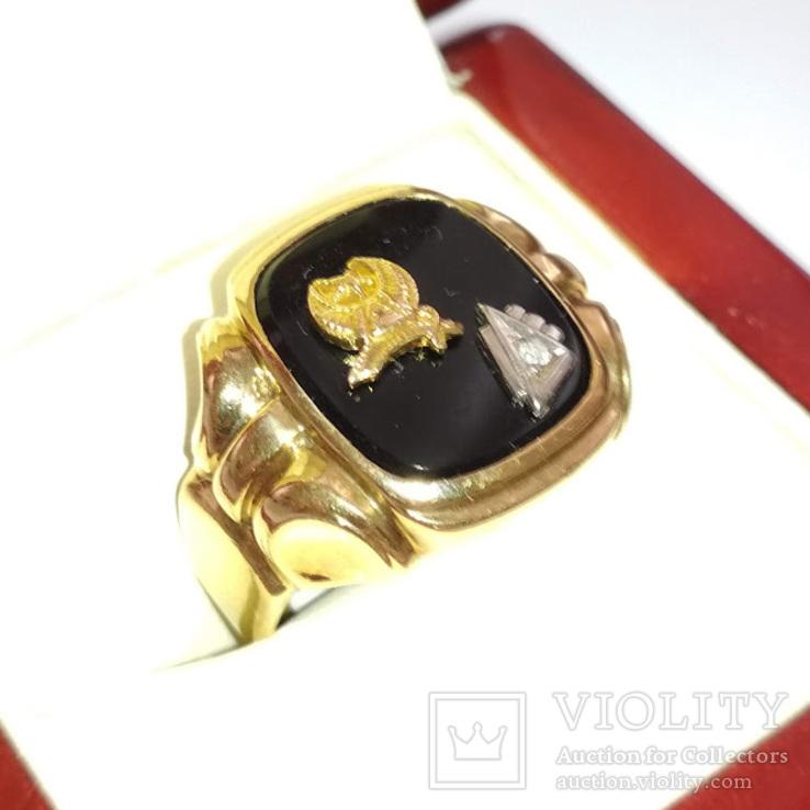Золотое мужское масонское кольцо