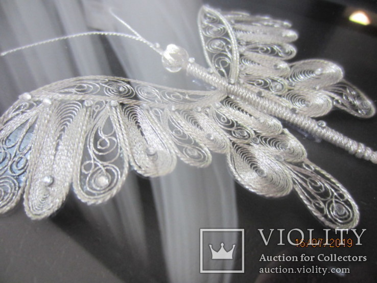 Бабочка филигрань серебряная нить ручная работа, фото №7
