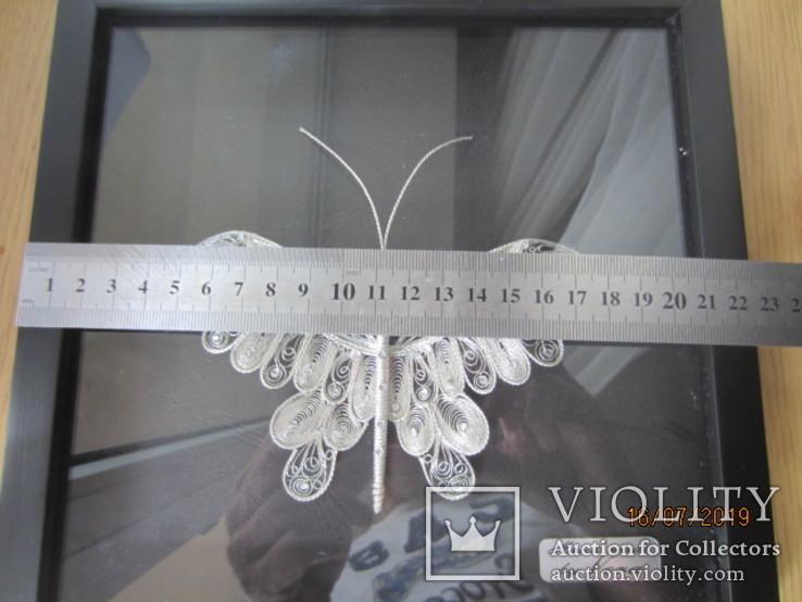 Бабочка филигрань серебряная нить ручная работа, фото №8