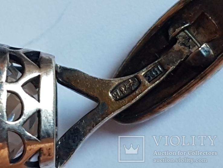 Советские запонки. Серебро 875 проба. Позолота. Горный хрусталь. Вес 10.8  г., фото №7
