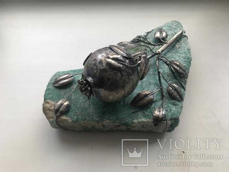 Гранат из серебра на камне амазонит, авторская работа, фото №3