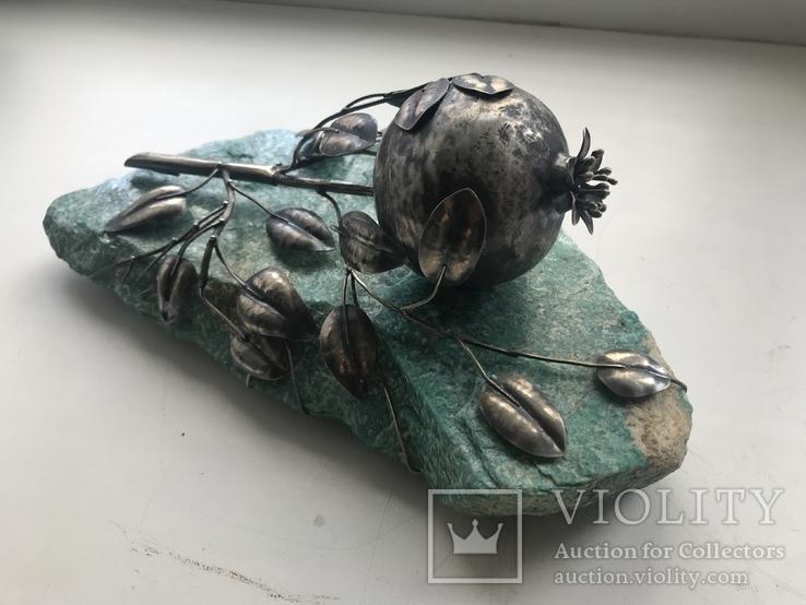 Гранат из серебра на камне амазонит, авторская работа, фото №4