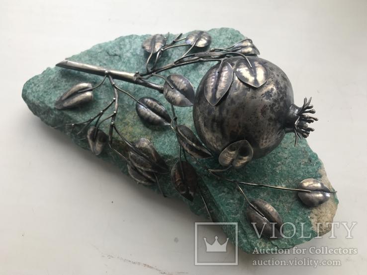 Гранат из серебра на камне амазонит, авторская работа