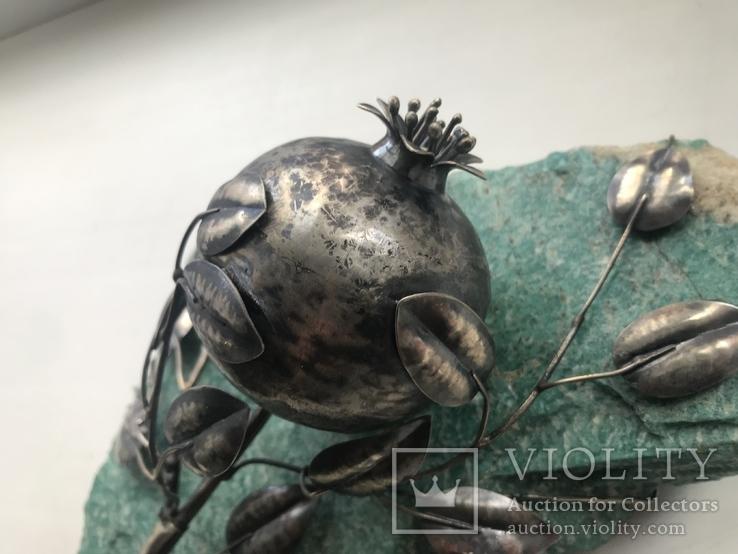 Гранат из серебра на камне амазонит, авторская работа, фото №6