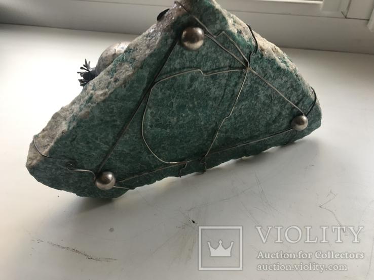 Гранат из серебра на камне амазонит, авторская работа, фото №9