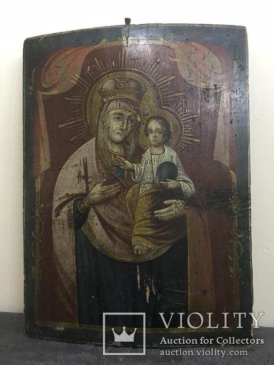 19 век, Украинская домашняя икона. Богородица., фото №6