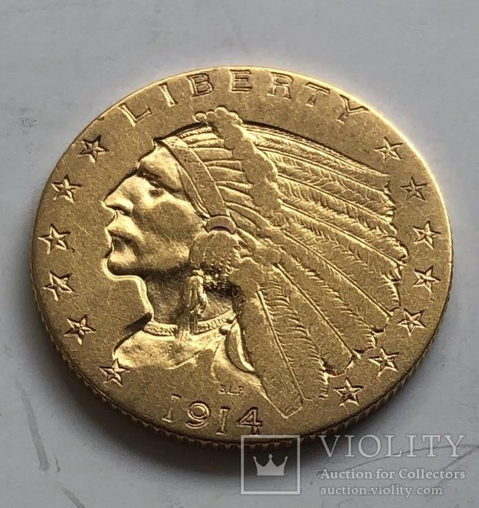 2,5 $ 1914 год США золото 4,17 грамм 900'