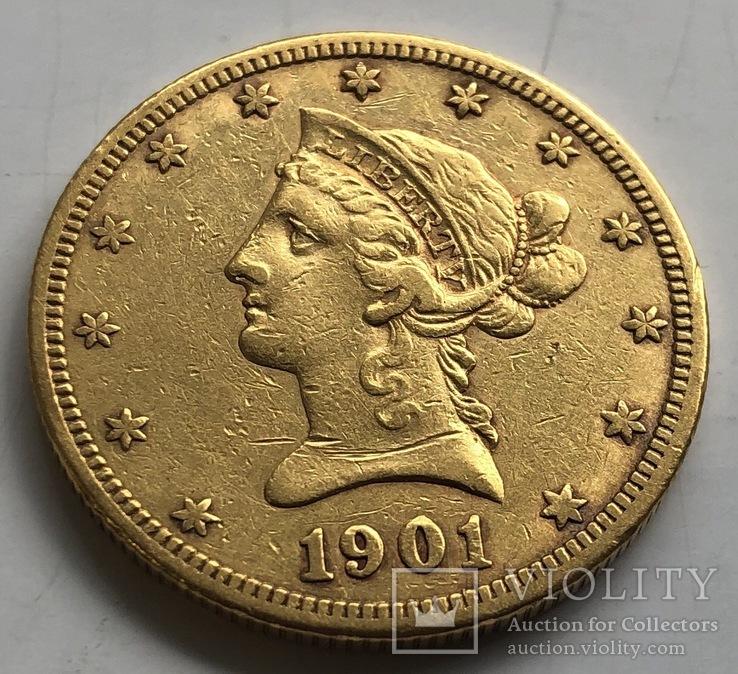 10 $ 1901-S год США золото 16,55 грамм 900'