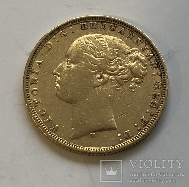 1 соверен 1879 год Англия золото 7,99 грамм 917', фото №2