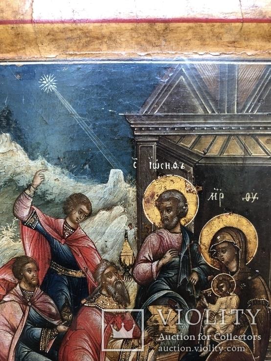 Икона рождество Христова 18век, фото №4