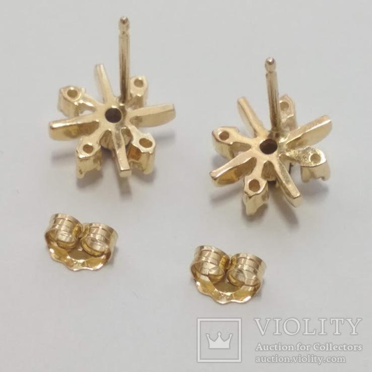 Золотые серьги-гвоздики с сапфирами и бриллиантами, фото №6