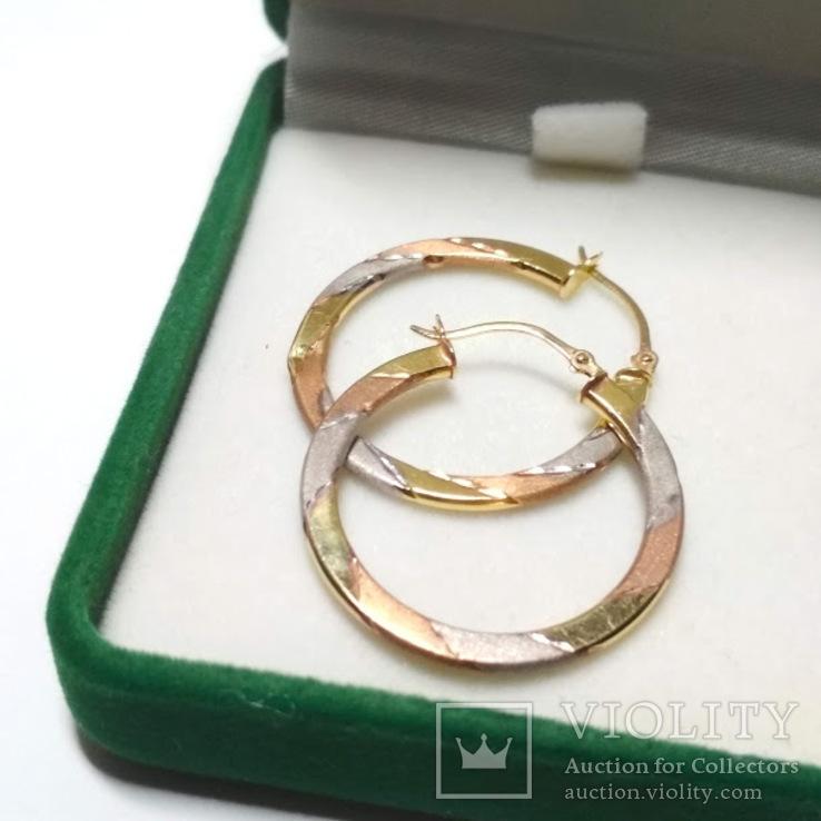 Золотые трех-цветные серьги-кольца