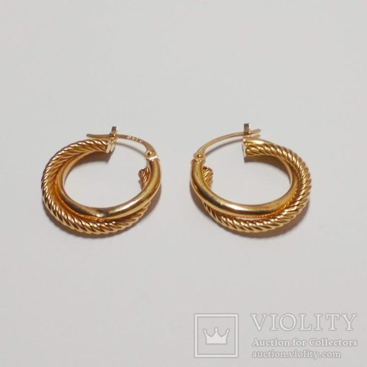 Золотые серьги-колечки, фото №2