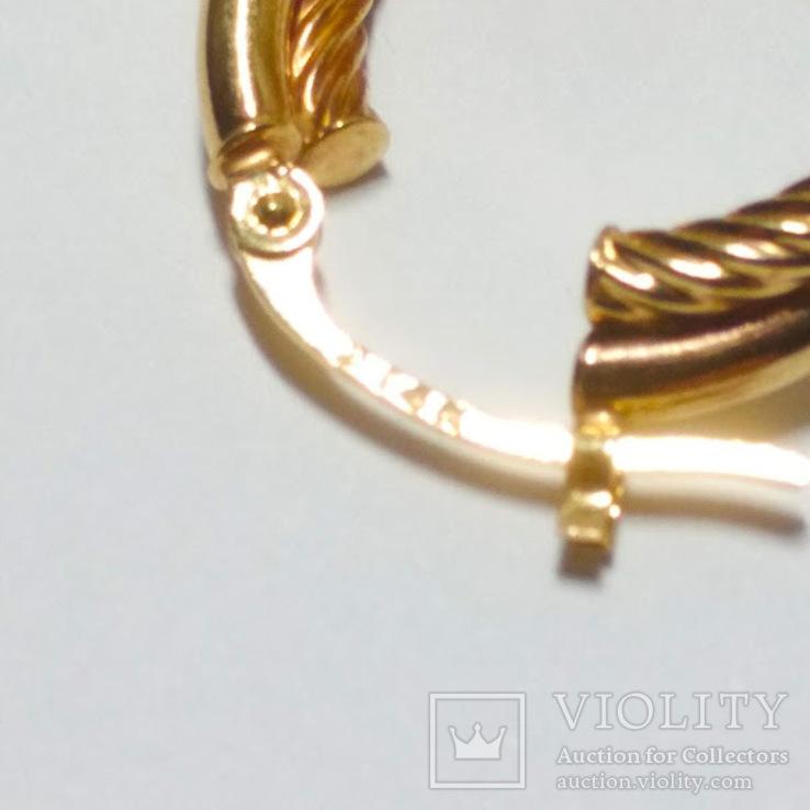 Золотые серьги-колечки, фото №5