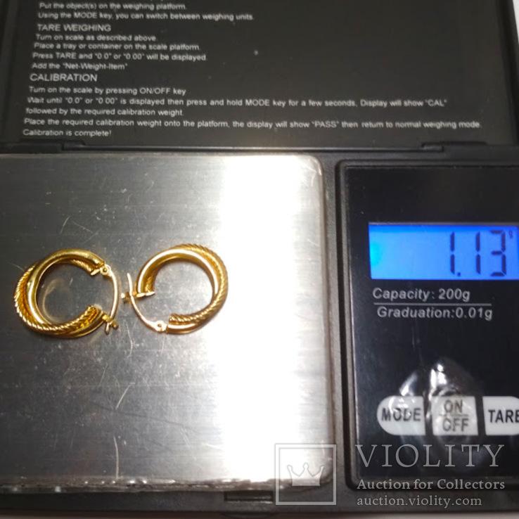 Золотые серьги-колечки, фото №6