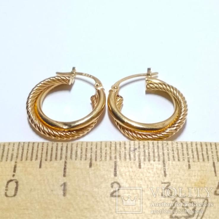 Золотые серьги-колечки, фото №7