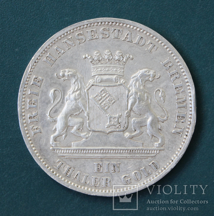 1 талер 1871(Бремен), фото №2